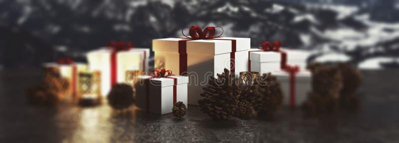 Weihnachtspanoramafahne von Geschenken und von Kerzen lizenzfreie abbildung