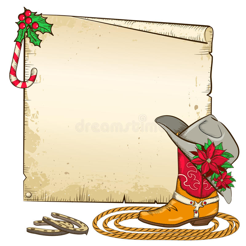 Weihnachtspapierhintergrund mit Hufeisen und Kuh vektor abbildung