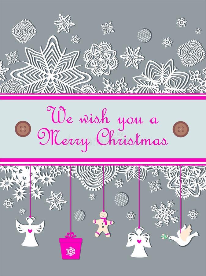 Weihnachtspastellgrußkarte mit Saisongrüßen mit dem Papierausschnitt, der kleine weiße Engel, Lebkuchen, Taube und snowf hängt lizenzfreie abbildung
