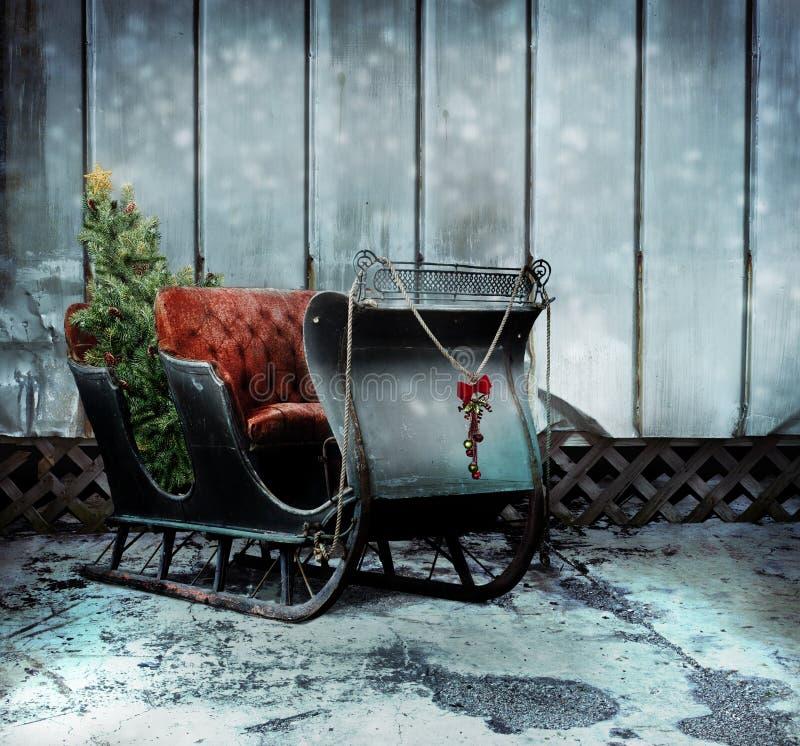 Weihnachtspferdeschlitten stockbild