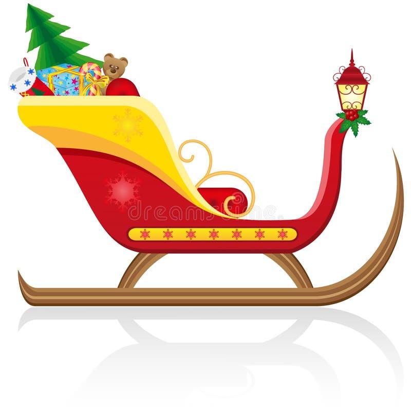 WeihnachtsPferdeschlitten von Weihnachtsmann mit Geschenken stock abbildung