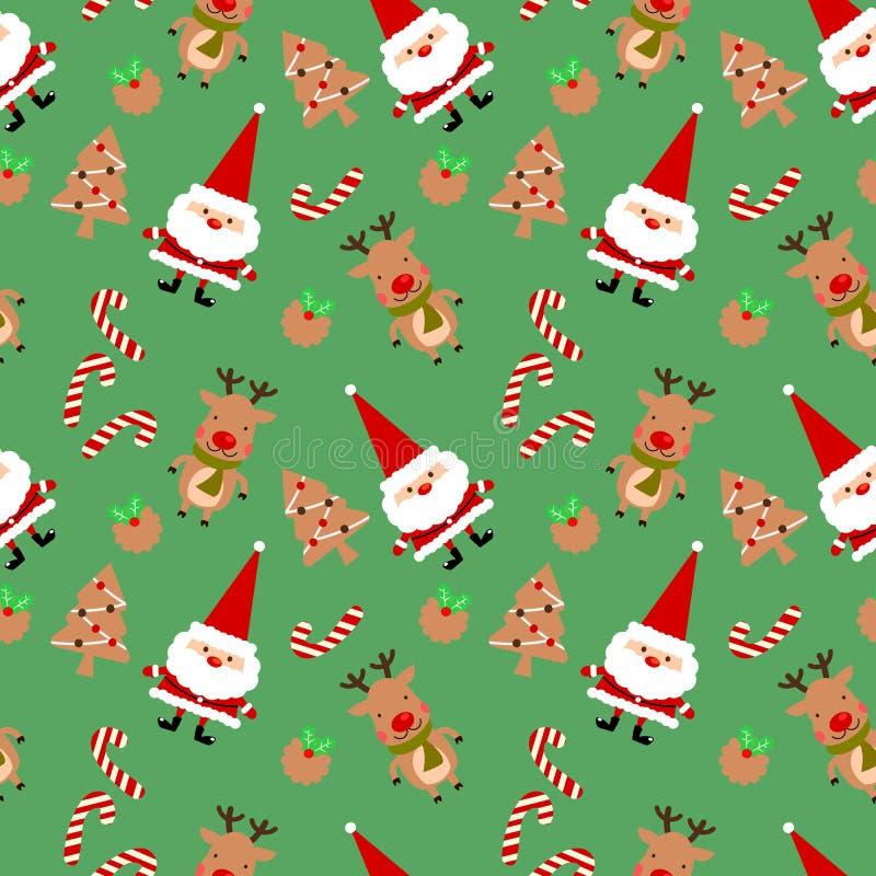Weihnachtsplätzchen und nettes nahtloses Muster Weihnachtsmanns stock abbildung
