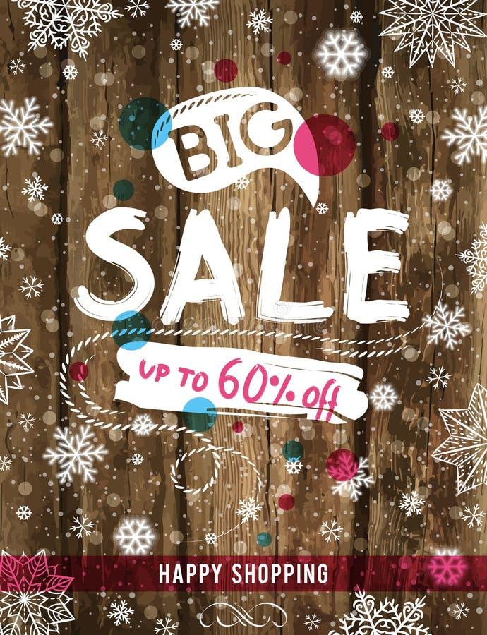 Weihnachtsplakat mit Schneeflocken und Verkauf bieten an, vector lizenzfreie abbildung