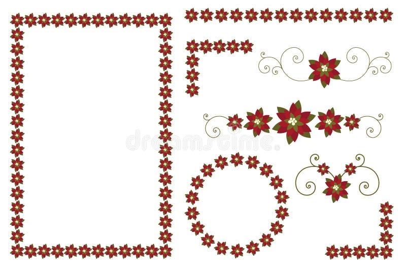 Weihnachtspoinsettiaränder und -dekorationen lizenzfreie abbildung