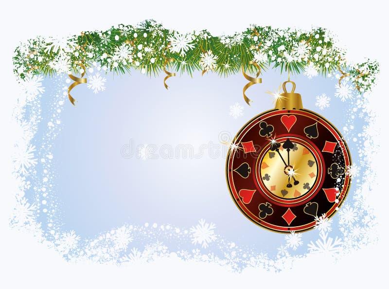 Weihnachtspoker-Grußkarte stock abbildung