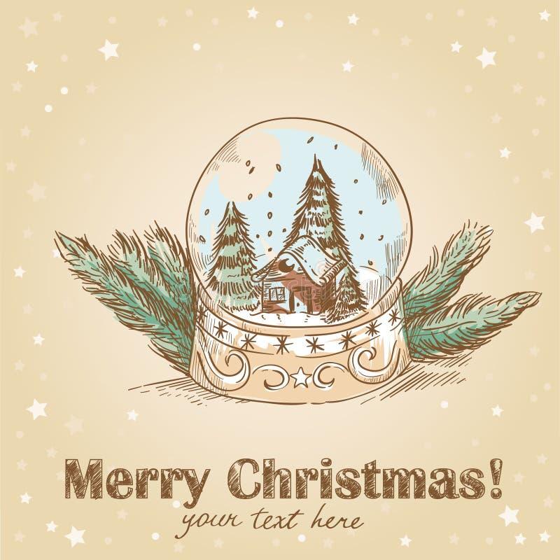 Weihnachtspostkarte mit Glaskugel mit Schneeflocken stock abbildung