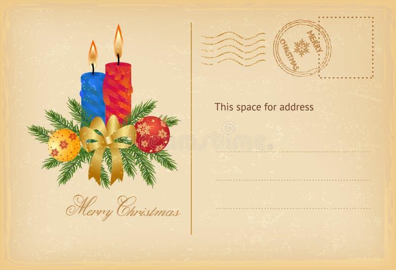 Weihnachtspostkarte mit Kerzen und Bällen lizenzfreie abbildung