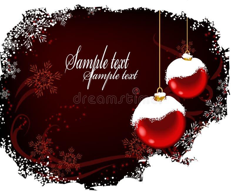 Weihnachtspostkarte mit roten Kugeln und snow_2 lizenzfreie abbildung