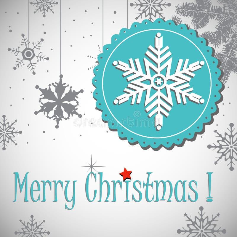 Weihnachtspostkarte mit weißer Schneeflocke stock abbildung