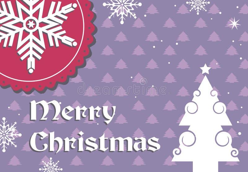 Weihnachtspostkartendesign mit Schneeflocke lizenzfreie abbildung