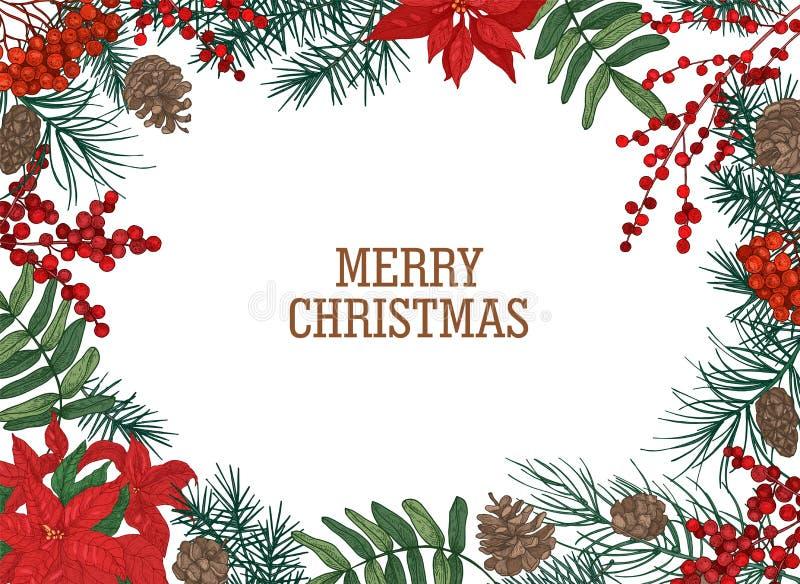 Weihnachtspostkartenschablone mit dem Rahmen oder Grenze gemacht von den Niederlassungen und Kegel der Kiefers, der Beeren und de vektor abbildung