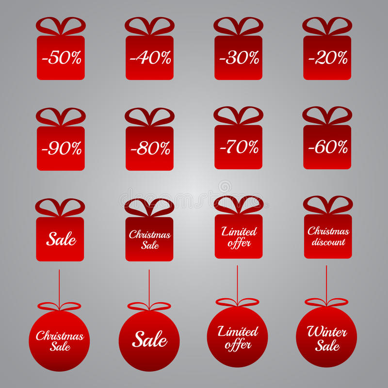Weihnachtspreiskalkulationstags - rote Geschenk- und Flitterformen lizenzfreie abbildung