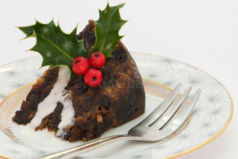Weihnachtspudding-Scheibe lizenzfreie stockfotografie