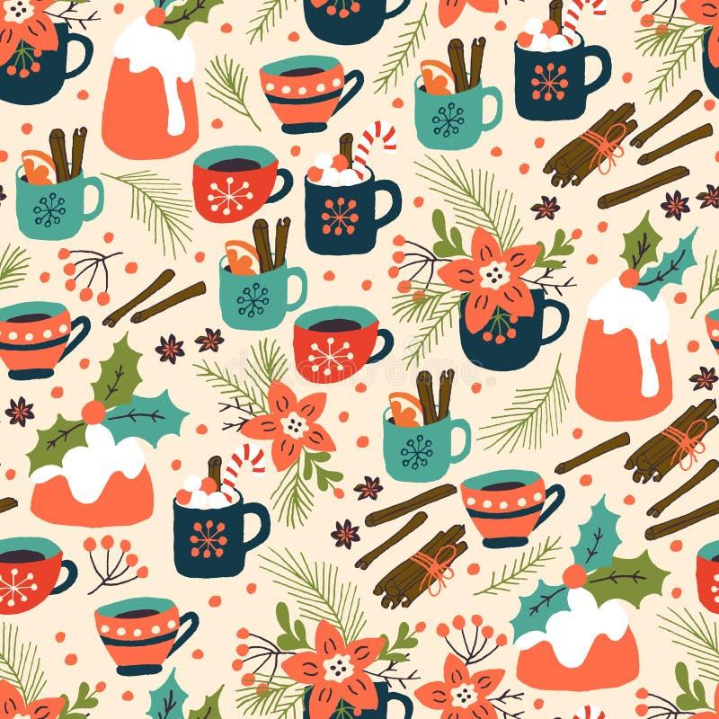 Weihnachtspudding und heißes Getränk-nahtloses Muster vektor abbildung