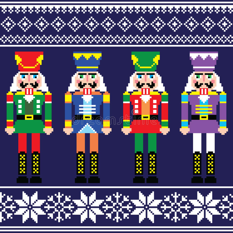 Weihnachtspullover oder nahtloses Muster der Strickjacke mit Nussknackern vektor abbildung
