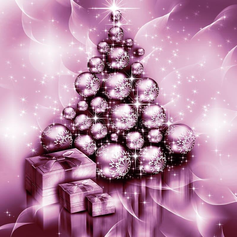 Weihnachtspurpurroter Baumhintergrund vektor abbildung