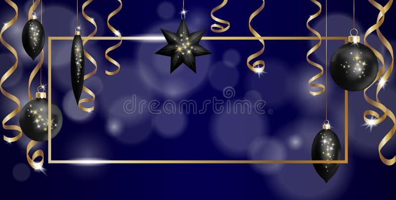 Weihnachtsrahmen-Fahnen-Schablone Schein-Serpentinausläufer des Ball-Tannen-Spielwarensternes goldener silberner Baumdekoration d stock abbildung