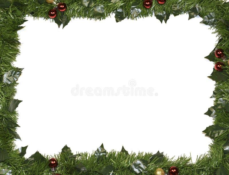 Weihnachtsrahmen gemacht von den Tannenzweigen lizenzfreies stockbild