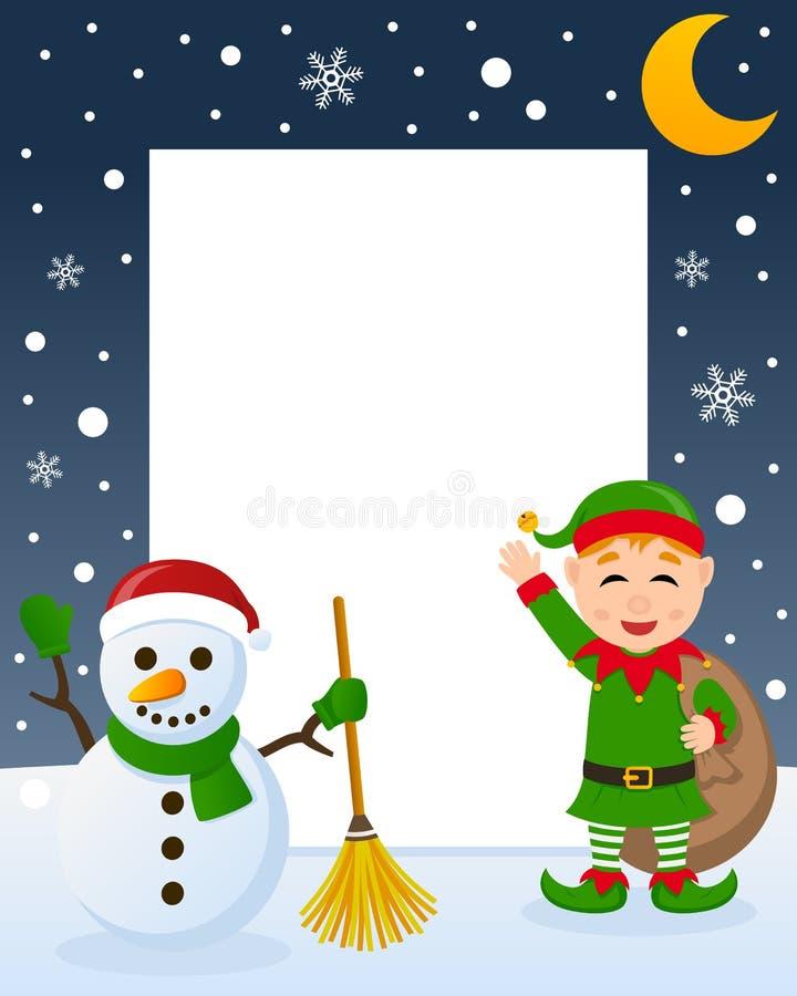Weihnachtsrahmen - grüne Elfe u. Schneemann vektor abbildung