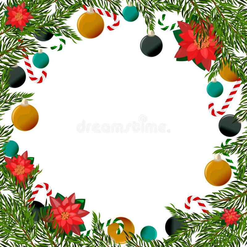 Weihnachtsrahmen mit Bäumen und Poinsettia stock abbildung