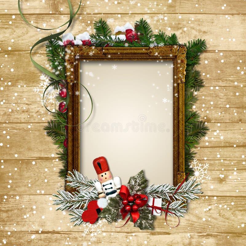 Weihnachtsrahmen mit dem Dekor und dem Nussknacker auf einem hölzernen Ba stock abbildung
