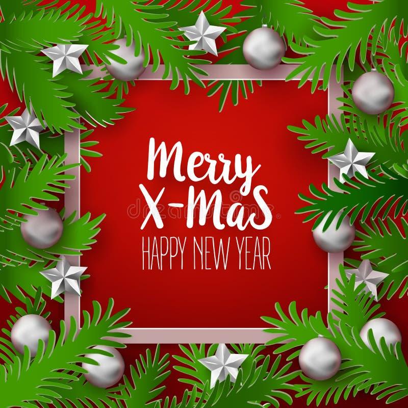 Weihnachtsrahmen mit grünen Niederlassungen stock abbildung