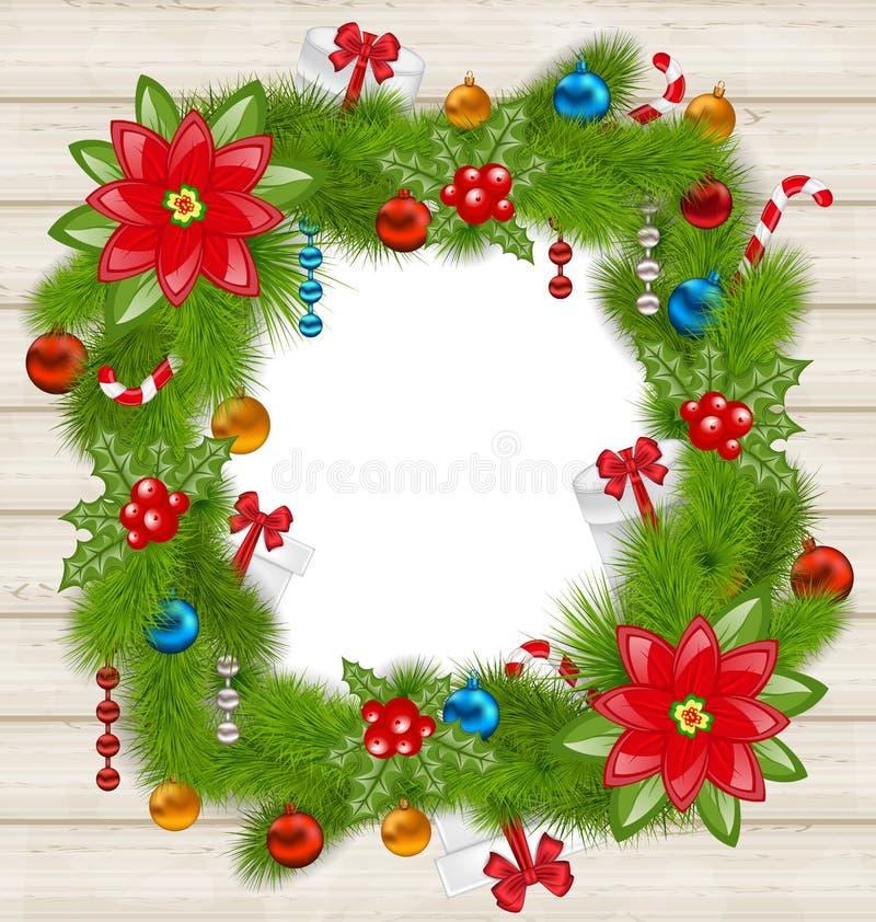 Weihnachtsrahmen mit traditionellen Elementen auf hölzernem Hintergrund vektor abbildung