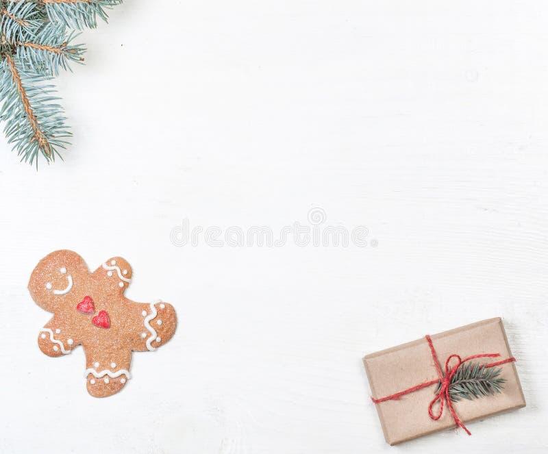Weihnachtsrahmen mit Weihnachtsfeiertagsdekorationen, kardieren fröhlichen Christus stockfotos