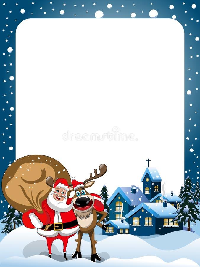 Weihnachtsrahmen Santa Claus Reindeer Hugging Snow lizenzfreie abbildung