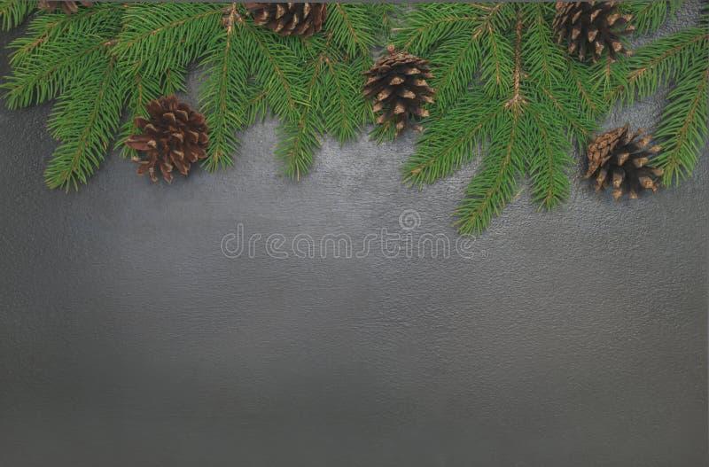 Weihnachtsrahmenhintergrund von den Weihnachtsbaum-Kiefernkegeln auf dem blac lizenzfreie stockfotos