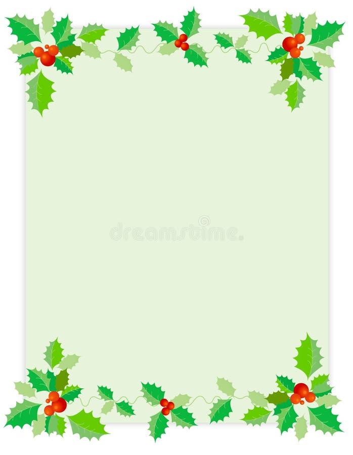 Weihnachtsrand/-stechpalme lizenzfreie abbildung