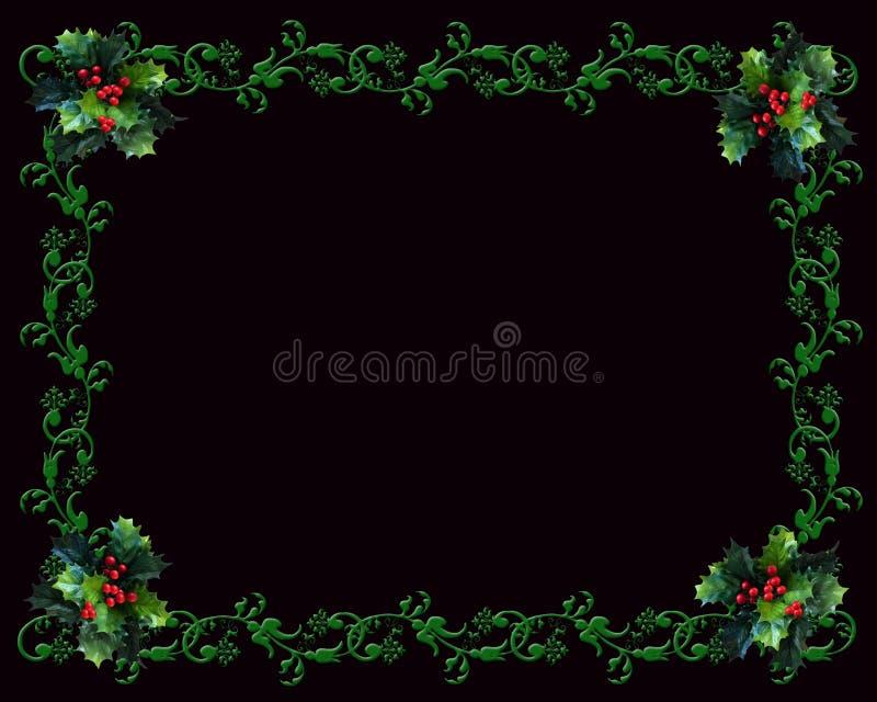 Weihnachtsrand Stechpalme auf Schwarzem stock abbildung