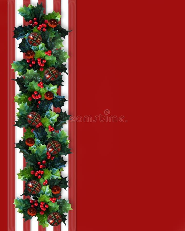 Weihnachtsrand-Stechpalme-Girlande vektor abbildung
