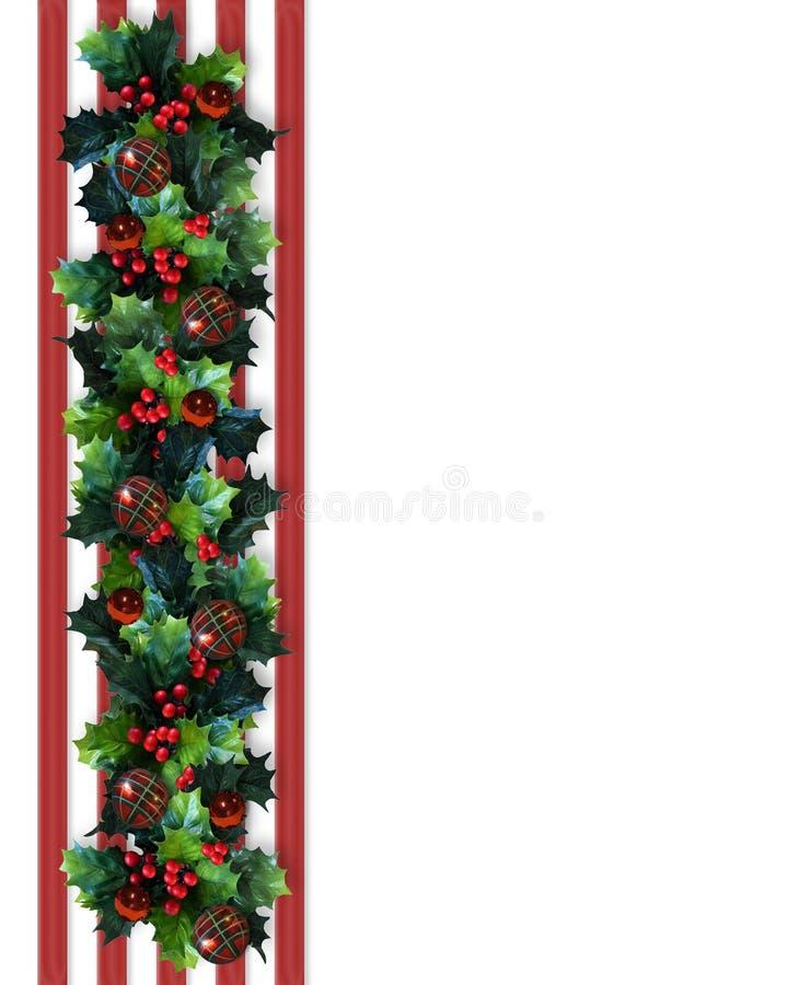 Weihnachtsrand-Stechpalme-Girlande lizenzfreie abbildung