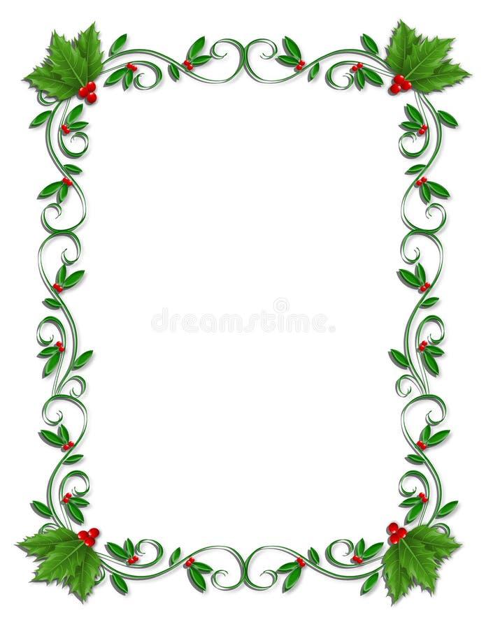 Weihnachtsrand-Stechpalme Ornamental lizenzfreie abbildung