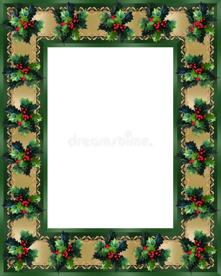 Weihnachtsrand-Stechpalme und Farbbandfeld lizenzfreie abbildung