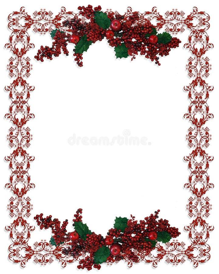 Weihnachtsrand-Stechpalmebeeren lizenzfreie abbildung