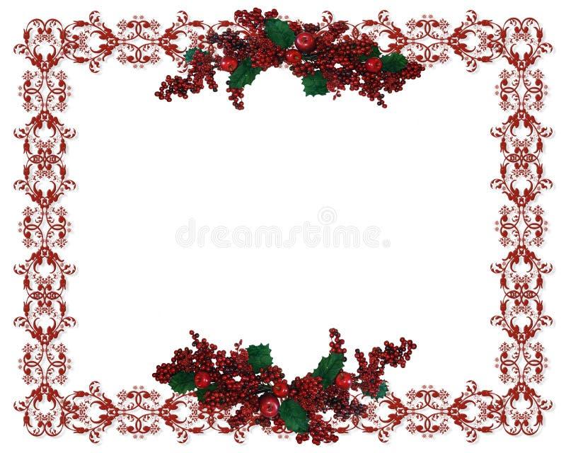 Weihnachtsrand-Stechpalmebeeren vektor abbildung