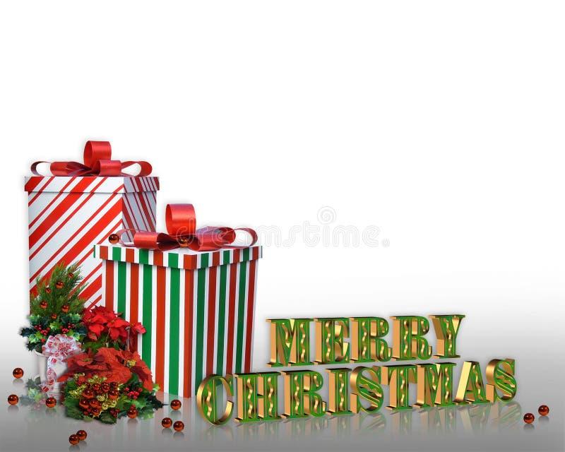 Weihnachtsrandgeschenke und -blumen lizenzfreie abbildung
