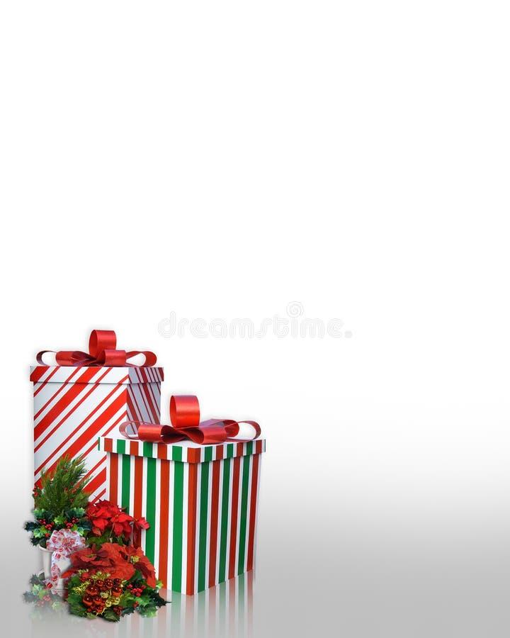 Weihnachtsrandgeschenke und -blumen stock abbildung