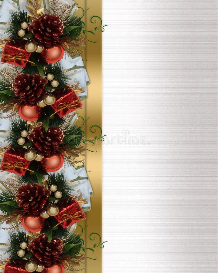 Weihnachtsrandkieferkegel und -bogen lizenzfreie abbildung