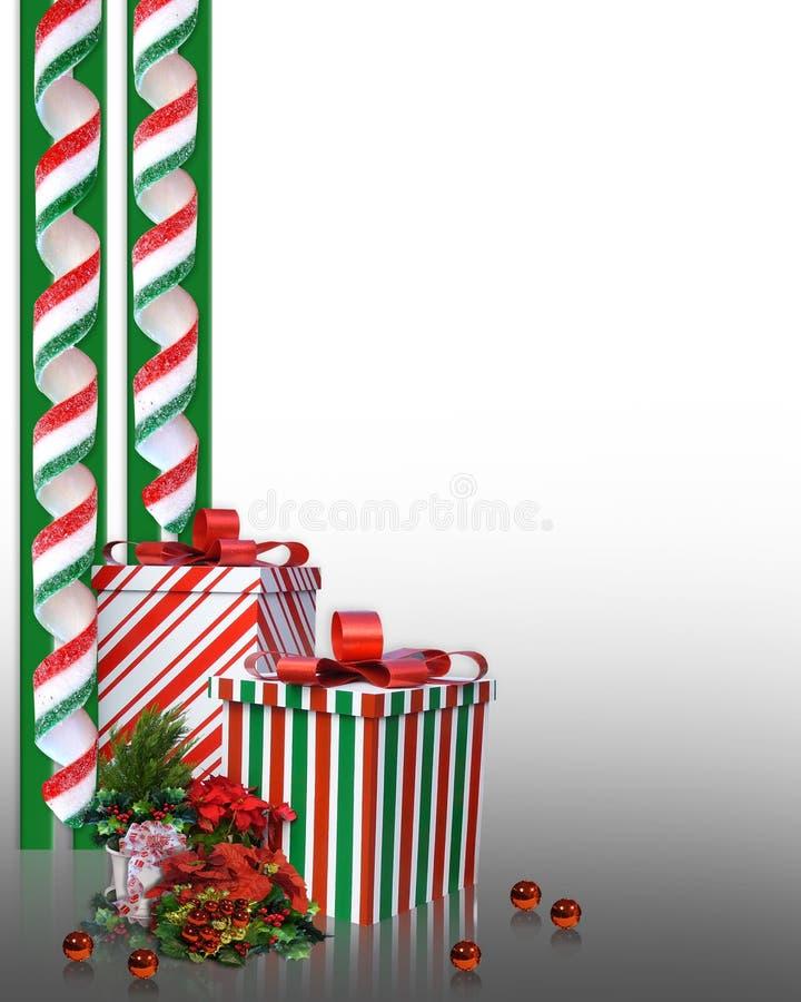 Weihnachtsrandsüßigkeit und -geschenke vektor abbildung