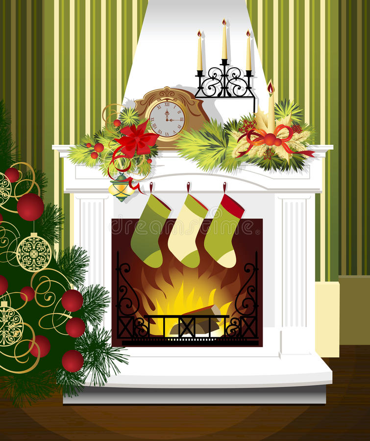 Weihnachtsraum stock abbildung