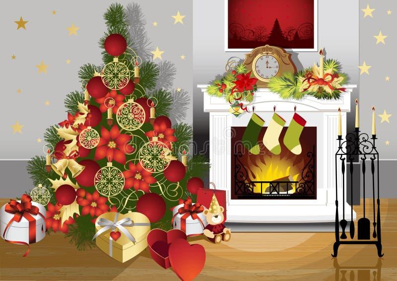 Weihnachtsraum lizenzfreie abbildung