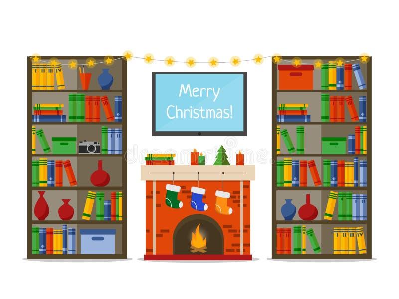 Weihnachtsrauminnenraum Weihnachtskamin mit Geschenken, Socken in der Bibliothek, flache Artvektorillustration lizenzfreie abbildung