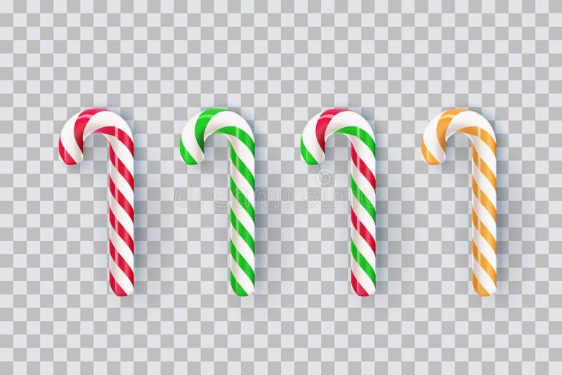 Weihnachtsrealistische gestreifte Stocksüßigkeit lokalisiert auf transparentem Hintergrund Süße Geschenkillustration des Vektors  lizenzfreie abbildung