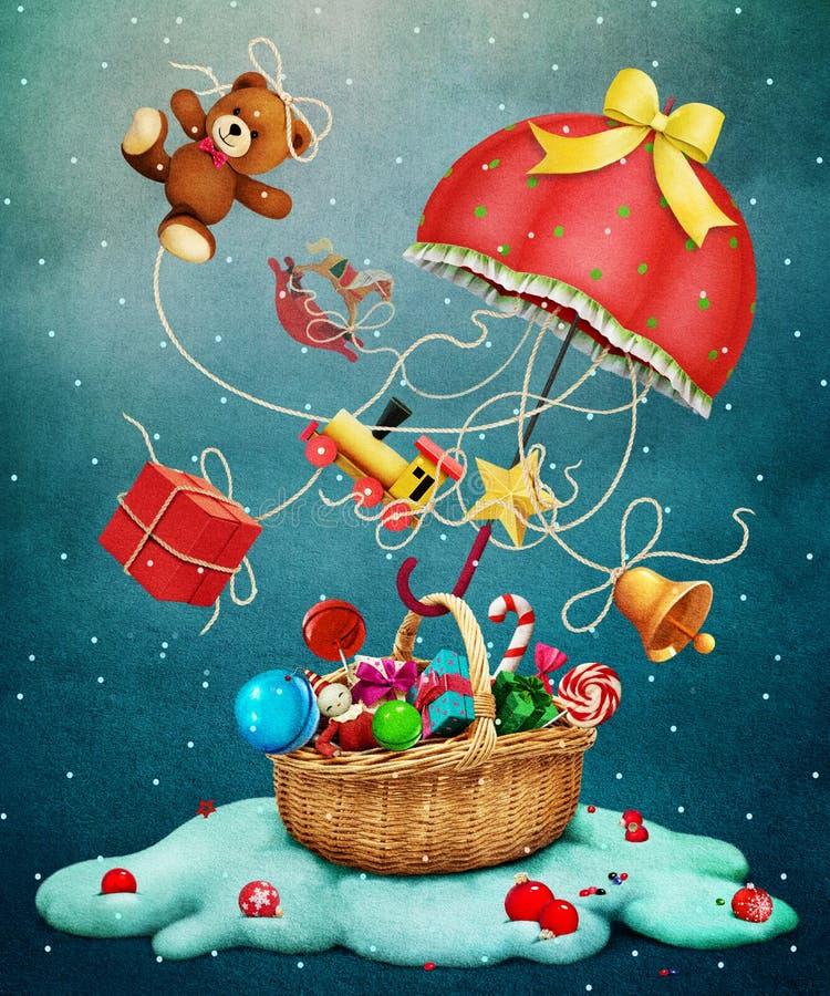 Weihnachtsregenschirm vektor abbildung