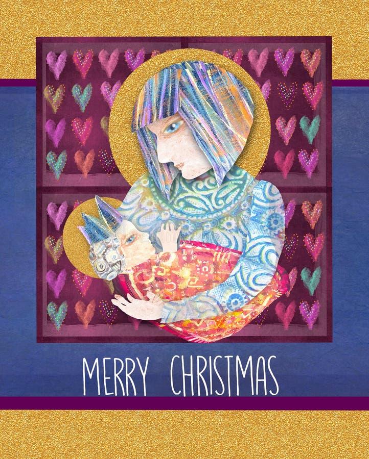 Weihnachtsreligiöse Karte mit Mary und Baby Jesus Abstrakter Anstrich Heiliges Familiendesign WeihnachtsGeburt Christiszene stockfotos