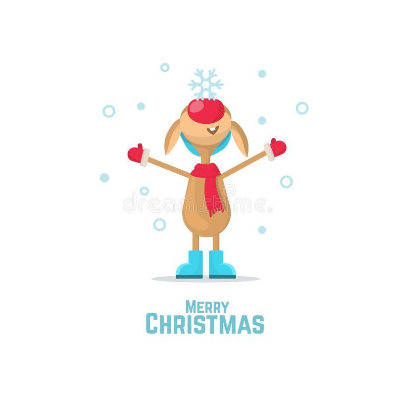 Weihnachtsren mit einer Schneeflocke auf seiner Nase Weihnachtsren auf dem weißen Hintergrund Ren mit roter Wekzeugspritze lizenzfreie abbildung