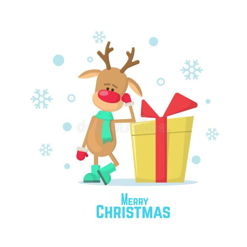 Weihnachtsren und -geschenk Vector Illustration eines Karikaturrens, das auf weißem Hintergrund lokalisiert wird vektor abbildung